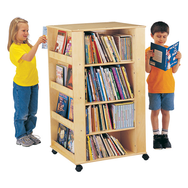 """Jonti-Craft Baltic Birch 0539JC 24"""" x 27"""" x 46 1/2"""" Children's Wood Literacy Media Tower with 8 Fixed Display Shelves and 6 Adjustable Book Shelves Main Image 1"""
