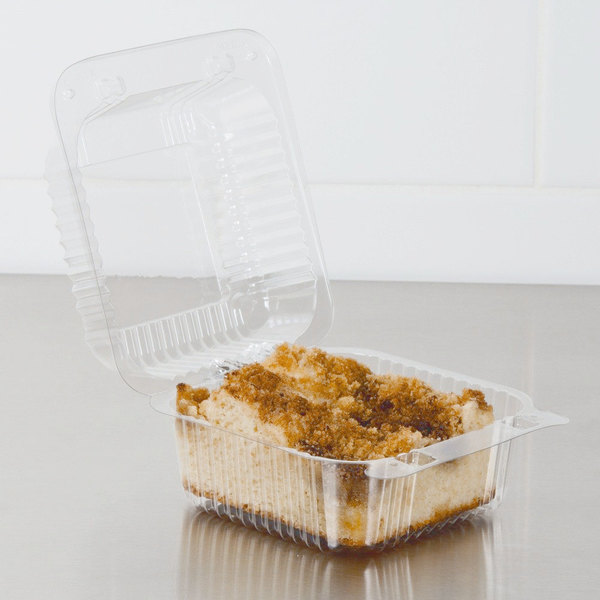 """Dart PET20UTD StayLock 5 1/4"""" x 5 5/8"""" x 3 1/4"""" Clear Hinged PET Plastic 5"""" Square Deep Base Container - 500/Case"""