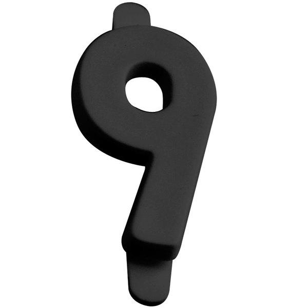 "3/4"" Black Molded Plastic Number 9 Deli Tag Insert - 50/Set"