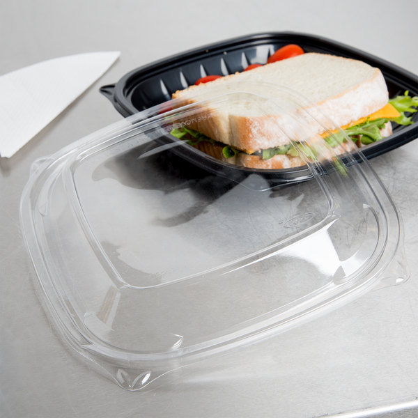 Dart C2464BDL PresentaBowls Pro Clear Square Lid for 24, 32, 48, and 64 oz. Square Plastic Bowls - 252/Case Main Image 4