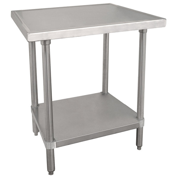"""Advance Tabco VLG-363 36"""" x 36"""" 14 Gauge Stainless Steel Work Table with Galvanized Undershelf"""