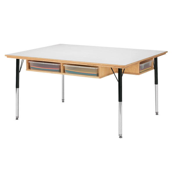 Jonti Craft Baltic Birch 55225jc 48 X 36 X 15 24 Children S Height Adjustable Work Table With White Laminate Top Desk Storage And Clear Plastic Paper Trays