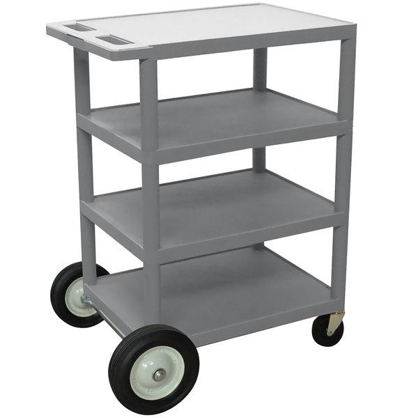 "Luxor BCB45 Gray 4 Shelf Serving Cart with Rear Big Wheels - 18"" x 24"" x 39"""