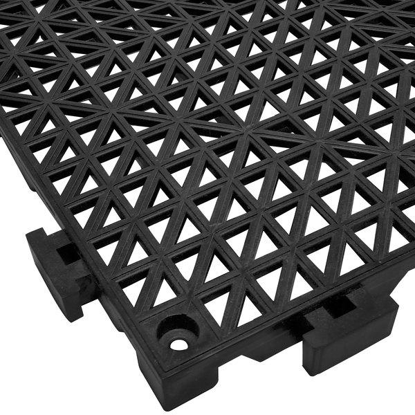 "Cactus Mat 2557-CTHD Poly-Lok 12"" x 12"" Black Heavy Duty Vinyl Interlocking Drainage Floor Tile - 3/4"" Thick"