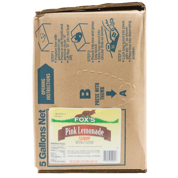 Fox's Bag In Box Pink Lemonade Syrup - 5 Gallon