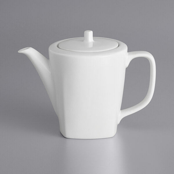 Sant Andrea W6052344866 Nexus 28 Oz Bright White Embossed Porcelain Coffee Pot By Oneida