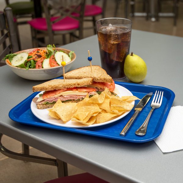 "Carlisle CT101414 Customizable Cafe 10"" x 14"" Blue Standard Plastic Fast Food Tray - 24/Case"