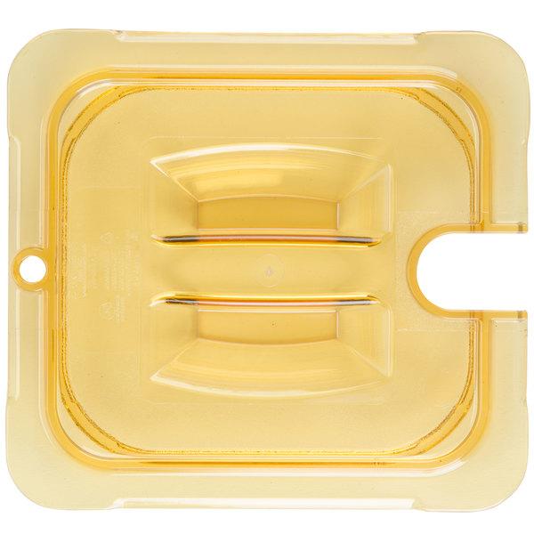 Carlisle 10511U13 StorPlus 1/6 Size Amber Universal High Heat Handled Lid with Spoon Notch