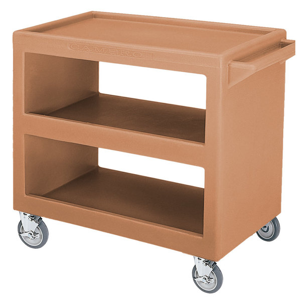 "Cambro BC2354S Coffee Beige Three Shelf Service Cart - 37 1/4"" x 21 1/2"" x 34 5/4"""