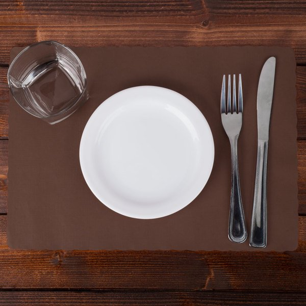 """Hoffmaster 310561 10"""" x 14"""" Chocolate Brown Colored Paper Placemat with Scalloped Edge - 1000/Case Main Image 2"""