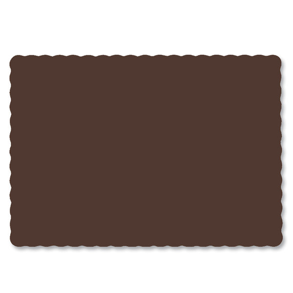 "Hoffmaster 310561 10"" x 14"" Chocolate Brown Colored Paper Placemat with Scalloped Edge - 1000/Case"