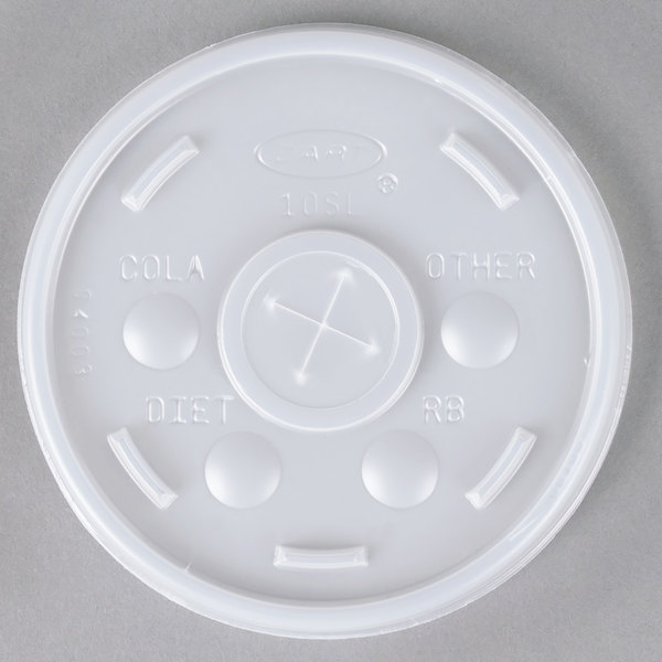 Dart 10SL Translucent Lid with Straw Slot - 1000/Case