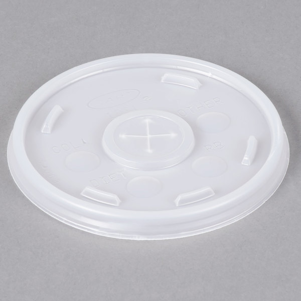 Dart 10SL Translucent Lid with Straw Slot - 1000/Case Main Image 1