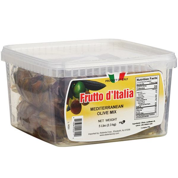 Frutto d'Italia Mediterranean Olive Mix with Pits 215/225 Count - 5 lb. (2.3 kg) Pail