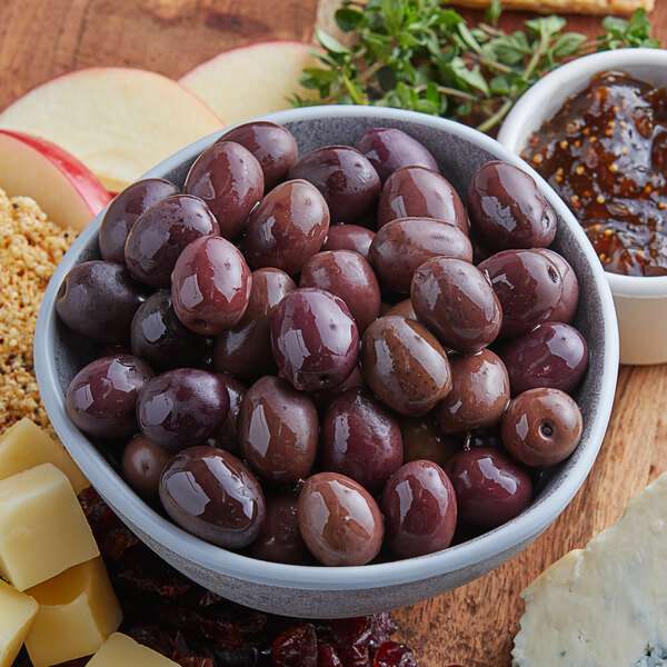 Brown gaeta olives in a bowl