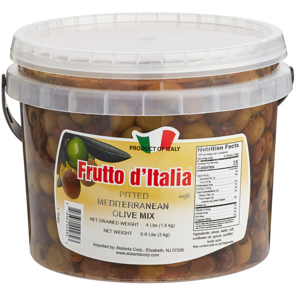 Frutto d'Italia Pitted Mediterranean Olive Mix 215/225 Count - 4 lb. (1.8 kg) Pail