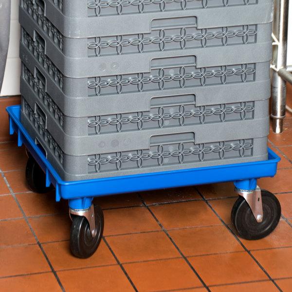 """Vollrath 1697-44 Traex® Blue Rack Dolly Base (No Handle) - 21"""" x 21"""""""