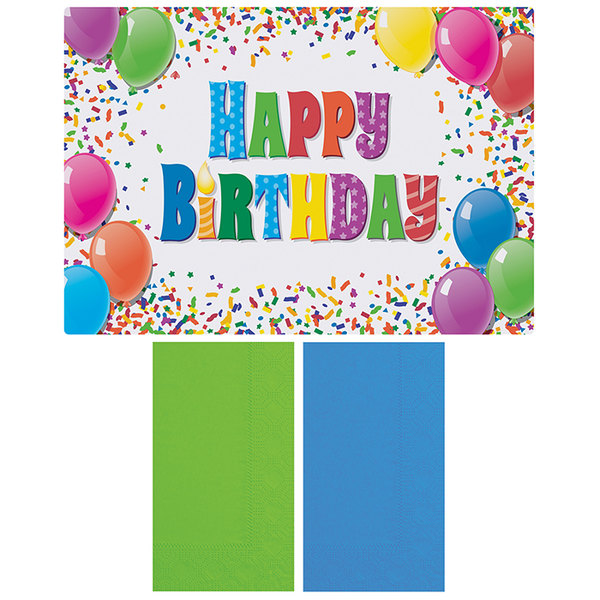 """Hoffmaster 856784 10"""" x 14"""" Happy Birthday Placemat Combo Pack - 250/Case"""