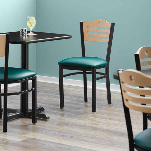 """Lancaster Table & Seating Natural Finish Bistro Dining Chair with 1 1/2"""" Green Padded Seat Main Image 4"""