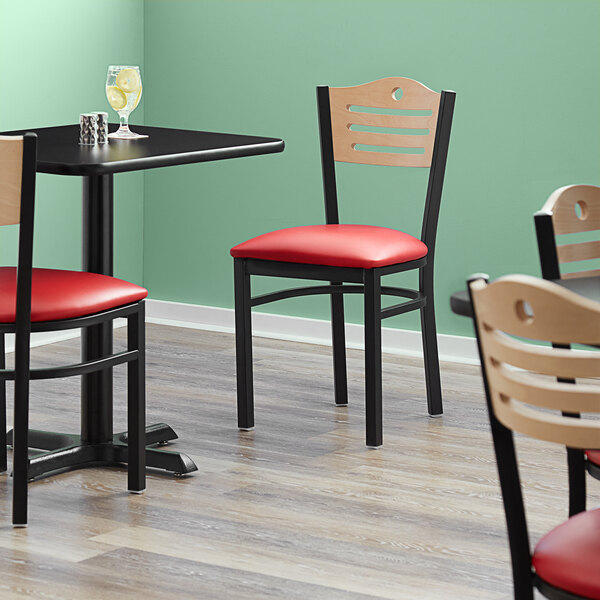 """Lancaster Table & Seating Natural Finish Bistro Dining Chair with 1 1/2"""" Red Padded Seat Main Image 4"""