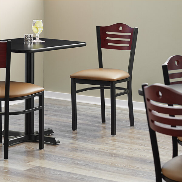 """Lancaster Table & Seating Mahogany Finish Bistro Dining Chair with 1 1/2"""" Light Brown Padded Seat Main Image 4"""