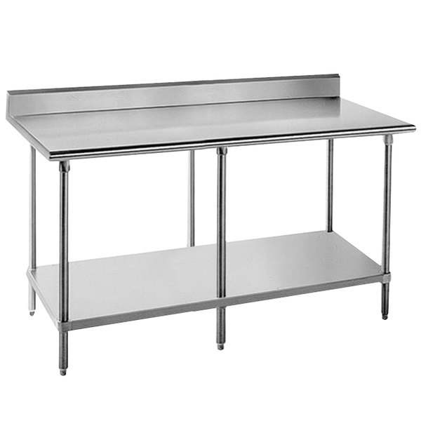 """Advance Tabco KAG-308 30"""" x 96"""" 16 Gauge Stainless Steel Commercial Work Table with 5"""" Backsplash and Galvanized Undershelf"""