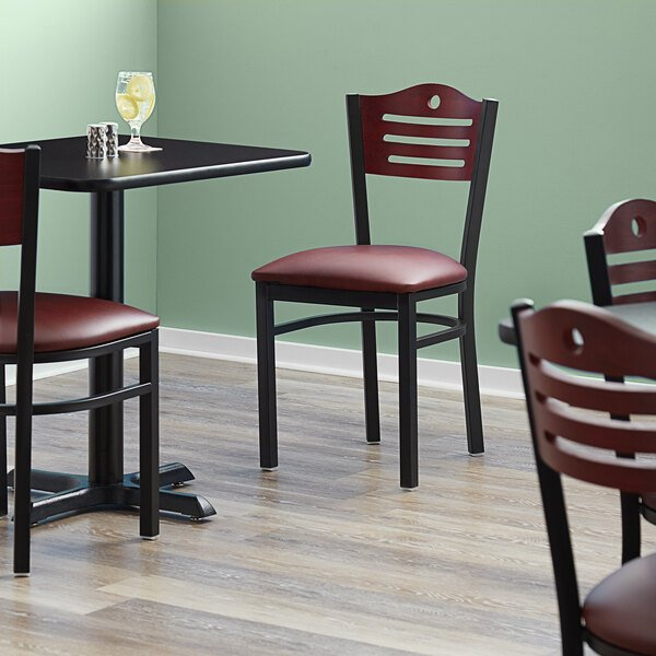 """Lancaster Table & Seating Mahogany Finish Bistro Dining Chair with 1 1/2"""" Burgundy Padded Seat Main Image 4"""