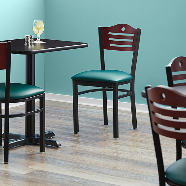"""Lancaster Table & Seating Mahogany Finish Bistro Dining Chair with 1 1/2"""" Green Padded Seat Main Image 4"""
