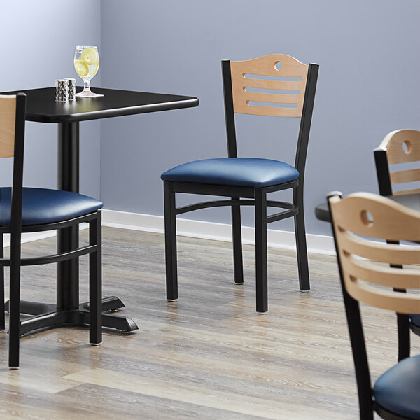 """Lancaster Table & Seating Natural Finish Bistro Dining Chair with 1 1/2"""" Navy Padded Seat Main Image 4"""