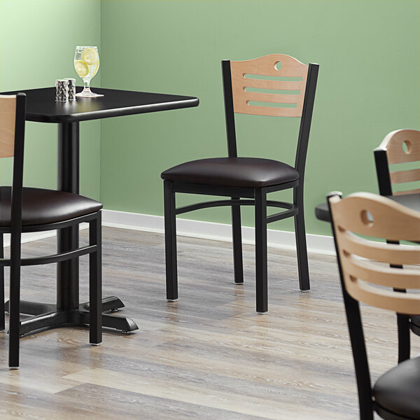 """Lancaster Table & Seating Natural Finish Bistro Dining Chair with 1 1/2"""" Dark Brown Padded Seat Main Image 4"""