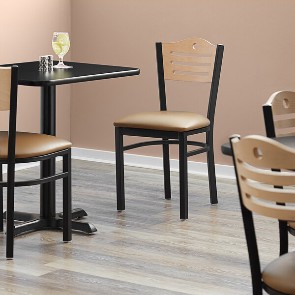 """Lancaster Table & Seating Natural Finish Bistro Dining Chair with 1 1/2"""" Light Brown Padded Seat Main Image 4"""