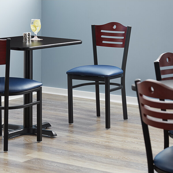 "Lancaster Table & Seating Mahogany Finish Bistro Dining Chair with 1 1/2"" Navy Padded Seat Main Image 4"
