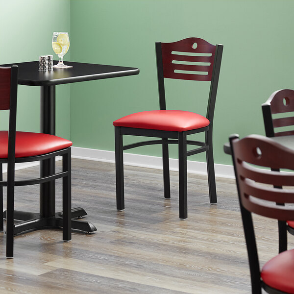 """Lancaster Table & Seating Mahogany Finish Bistro Dining Chair with 1 1/2"""" Red Padded Seat Main Image 5"""