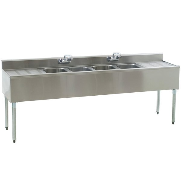 """Eagle Group B7C-4-18 Underbar Sink with Four Compartments, Two Drainboards, and Two Faucets - 84"""""""