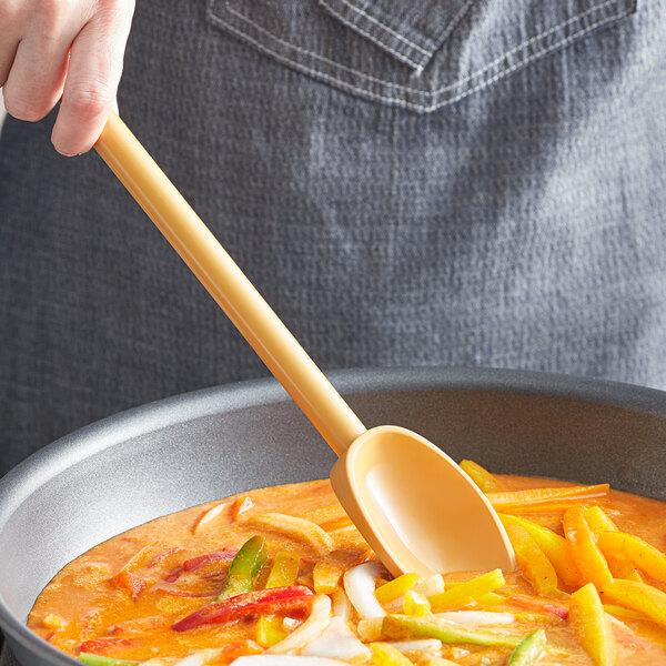 "Mercer Culinary M33182TN Hell's Tools® 11 7/8"" Tan High Temperature Mixing Spoon Main Image 2"