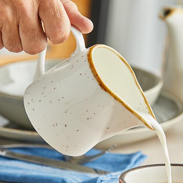Acopa Keystone 10 oz. Vanilla Bean Porcelain Creamer - 2/Pack Main Image 2