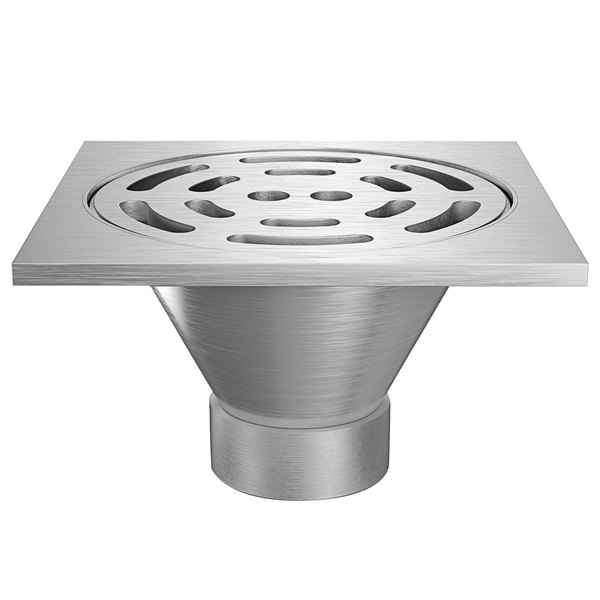 """Zurn Z1800-4NH-12S-USA 12"""" Square Type 304 Stainless Steel Industrial Sanitary Floor Drain with Heavy-Duty Slotted Grate and 4"""" No-Hub Outlet Main Image 1"""