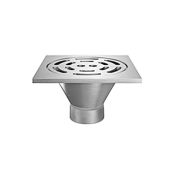 """Zurn Z1800-6NH-12S-H5-USA 12"""" Square Type 304 Stainless Steel Industrial Sanitary Floor Drain with Heavy-Duty Slotted Grate and 6"""" No-Hub Outlet Main Image 1"""