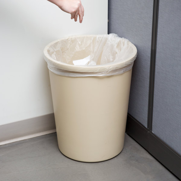 Continental 4438BE 44 Qt. / 11 Gallon Beige Round Wastebasket / Trash Can