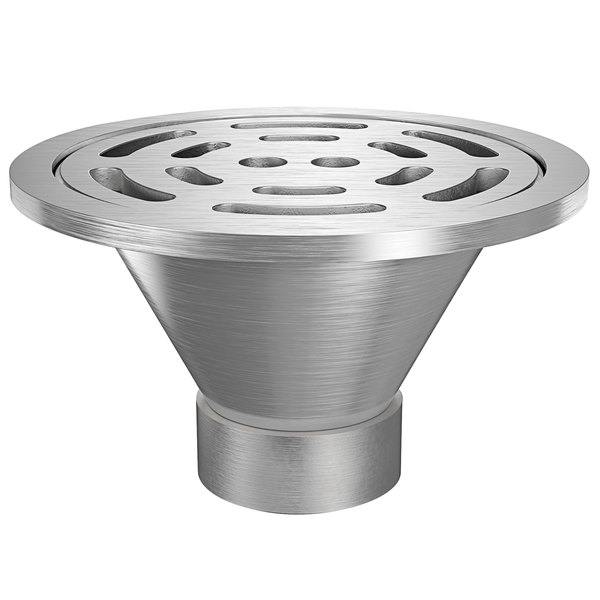 """Zurn Z1800-4NH-12B-USA 12"""" Round Type 304 Stainless Steel Industrial Sanitary Floor Drain with Heavy-Duty Slotted Grate and 4"""" No-Hub Outlet Main Image 1"""