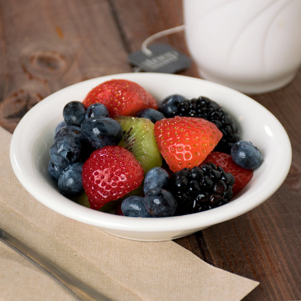 Choice 5 oz. Ivory (American White) Rolled Edge Stoneware Fruit / Monkey Dish - 6/Pack Main Image 2