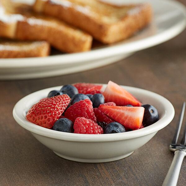 Choice 5 oz. Ivory (American White) Rolled Edge Stoneware Fruit / Monkey Dish - 6/Pack Main Image 3