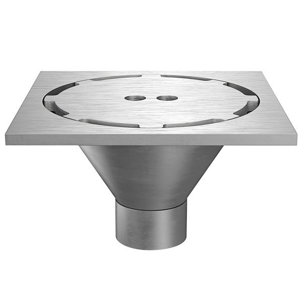 """Zurn Z1800-3NH-12S-H5-USA 12"""" Square Type 304 Stainless Steel Industrial Sanitary Floor Drain with Heavy-Duty Perimeter Grate and 3"""" No-Hub Outlet Main Image 1"""