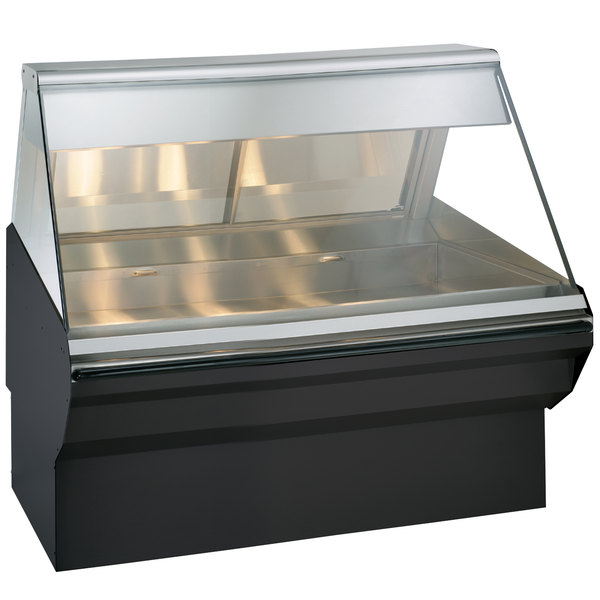 """Alto-Shaam EC2SYS-48/P BK Black Heated Display Case with Angled Glass and Base - Self Service 48"""""""