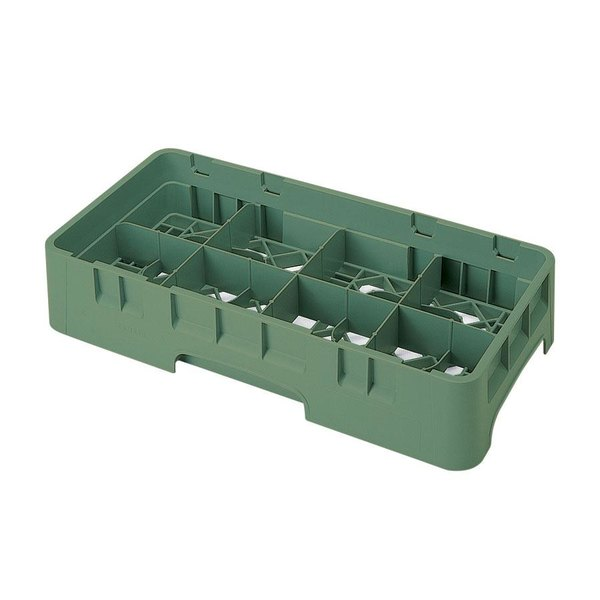 "Cambro 8HS800119 Sherwood Green Camrack Customizable 8 Compartment Half Size 8 1/2"" Glass Rack"