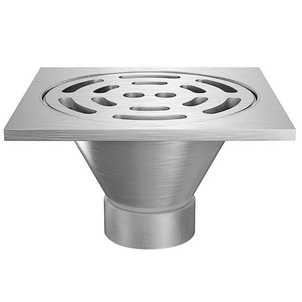 """Zurn Z1800-3NH-12S-USA 12"""" Square Type 304 Stainless Steel Industrial Sanitary Floor Drain with Heavy-Duty Slotted Grate and 3"""" No-Hub Outlet Main Image 1"""