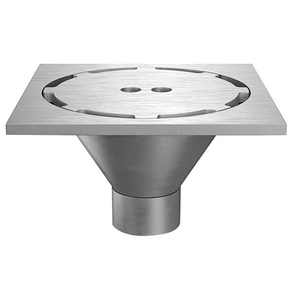 "Zurn Z1800-4NH-12S-H5-USA 12"" Square Type 304 Stainless Steel Industrial Sanitary Floor Drain with Heavy-Duty Perimeter Grate and 4"" No-Hub Outlet Main Image 1"