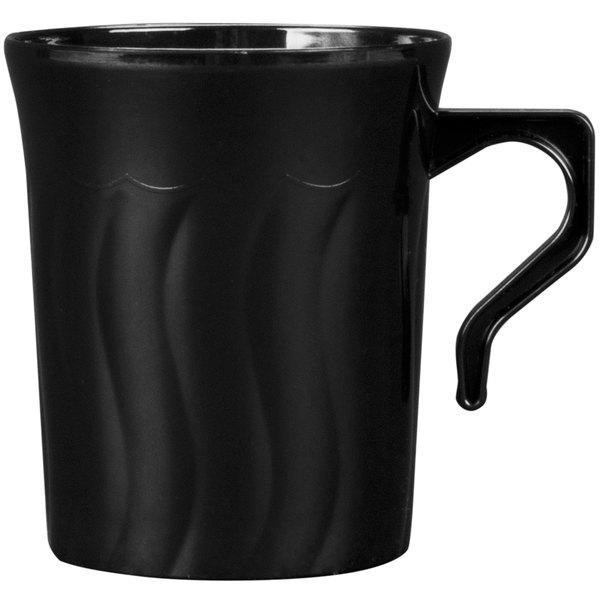 Fineline Flairware Black 208-BK 8 oz. Plastic Coffee Mug - 8/Pack