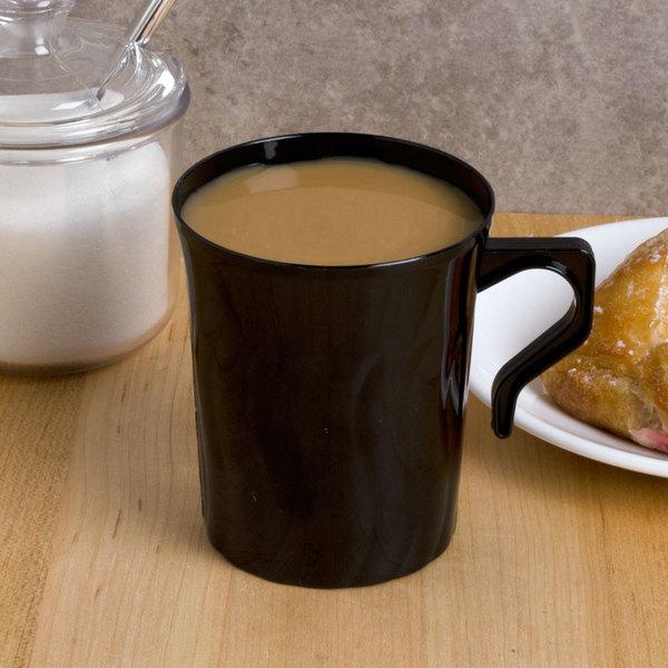Fineline Flairware Black 208-BK 8 oz. Plastic Coffee Mug - 8/Pack Main Image 4
