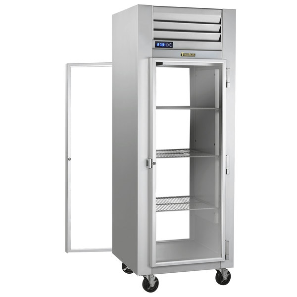 Traulsen G16012P Solid Front, Glass Back Door 1 Section Pass-Through Refrigerator - Right / Right Hinged Doors Main Image 1